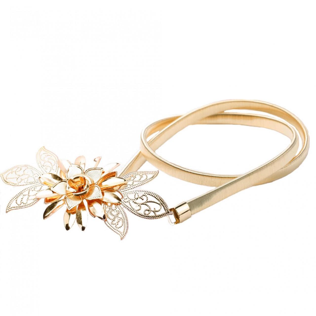 Χρυσή Μεταλλική Γυναικεία Ζώνη Μέσης Με Σχέδιο Λουλούδι - 4162