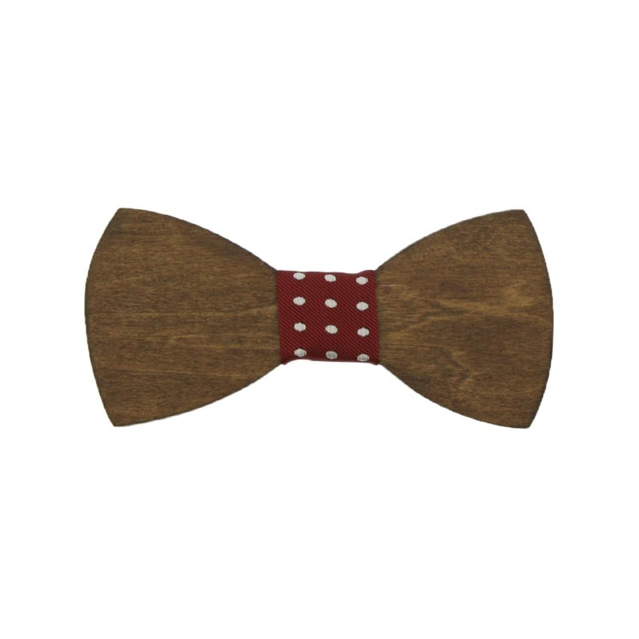 Ξύλινο Παιδικό Παπιγιόν Καρυδιά Με Κόμπο Πουά Μπορντό 2 έως 6 Χρονών - 3878